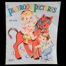 Childs Vintage Picture Book Real Cloth Book with Large Colorful Graphics – Playroom Picture