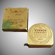 Vintage Tape Measure Old Advertising Steel Tape Measure with Original Box - The Vernon Company