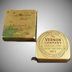 Vintage Advertising Steel Tape Measure with Original Box - The Vernon Company
