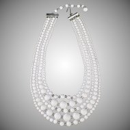 Vintage Costume Jewelry Five Strand Necklace - White Glass Beads - Japan