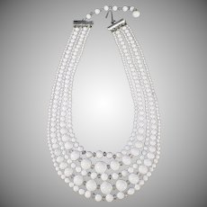 Vintage Costume Jewelry - Old Five Strand Bead Necklace - White Glass Beads - Japan