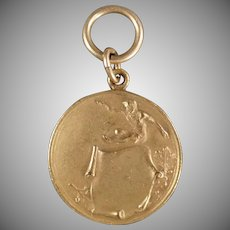 Vintage Track and Field Medal - Old High Jump Gold Colored Medal