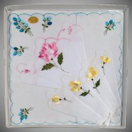 Vintage Hankie Set - Three Handkerchiefs with Colorful Flowers -Original Packaging