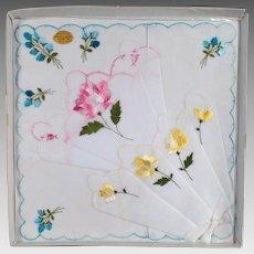 Vintage Hankie Set - Three Handkerchiefs with Colorful Flowers -Original Packaging