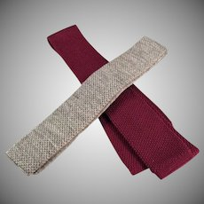 Men's Vintage Neck Ties - Two Skinny Knit Ties with Square Bottom - Two (2) Old Neckties