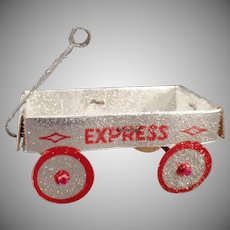 Vintage Christmas Tree Ornament – Silver Express Wagon – New Old Stock N.O.S.