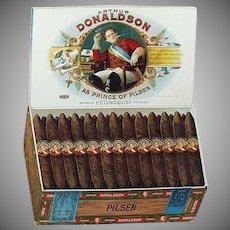 Vintage Cardboard Easel Sign - Old Arthur Donaldson Pilsen Cigars Advertising
