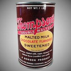 Vintage Thompson's Malted Milk Tin - Old Borden Malt Tin