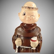 Vintage Musical Monk Decanter - Old Wind Up Music Box Ceramic Friar