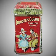 Vintage Cocoa Tin Sample - Very Small Droste Tin - Colorful Advertising Miniature