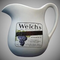 Vintage McCoy Pottery - Old Welch's Grape Juice Advertising Milk Pitcher