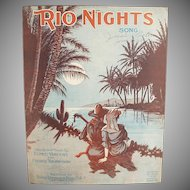 Vintage Sheet Music - Rio Nights Waltz - Nice Graphics - 1920