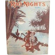 Vintage Sheet Music - Rio Nights Waltz - Nice Graphics - 1920