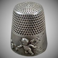 Vintage Sterling Thimble - Old Simons Bros. Cupid Design - 1905