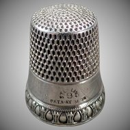 Vintage Sterling Thimble - Old Simons Brothers Priscilla Pattern