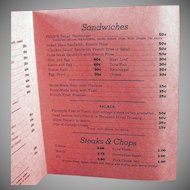 Vintage Menu - Fern's Restaurant - Old Soda Fountain Memorabilia - Fun Nostalgia from the 1950's