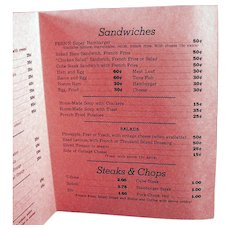Vintage Fern's Restaurant Menu - Old Soda Fountain Memorabilia - 1950's Nostalgia