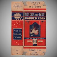 Vintage Pop Corn Box - Old H & H  Popcorn Box with Little Girl