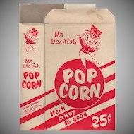 Vintage Pop Corn Box - Old Mr. Dee-lish Popcorn Box ca 1960's