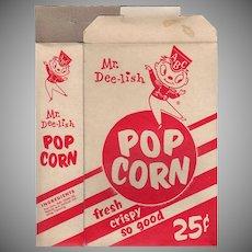 Vintage Pop Corn Box - Old Mr. Dee-lish Popcorn Box ca 1960's