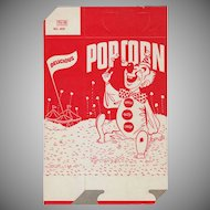 Vintage Popcorn Box - Old 1950's Pop Corn Box with Happy Clown - Unused