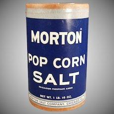 Vintage Popcorn Salt Box - Old Morton Pop Corn Salt Cardboard Box ca. 1950's