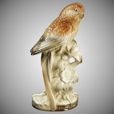Vintage Bird Figurine - Pretty Porcelain Parakeet in Brown Tones