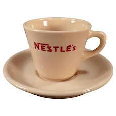 Vintage Restaurant China - Old Nestle's Hot Chocolate Cup and Saucer - Cocoa Advertising