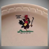 Vintage Restaurant China – Chicken in the Rough Advertising Dinner Plate ca 1969