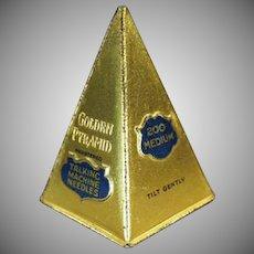 Vintage Phonograph Needle Tin - Golden Pyramid - Attractive Old Needle Tin