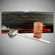 Antique Safety Razor Set - Old Griffon Razor with Original Tin, Strop and Box