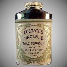 Vintage Talc Tin - Old Sample Dactylis Powder Tin by Colgate