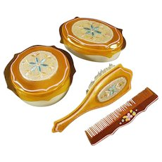 Vintage Dresser Set - Covered Boxes with Matching Brush and Comb - Celluloid with Fabric Inserts