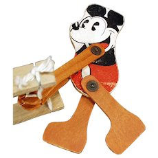 Vintage Pie-eyed Mickey Mouse Toy - Old Wood Trapeze Toy - Walt Disney Copyright