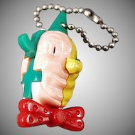 Vintage Puzzle Key Chain - Colorful Clown's Head Dexterity Game