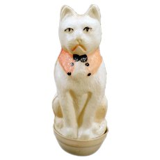 Vintage Roly Poly Toy – Miniature Celluloid White Cat