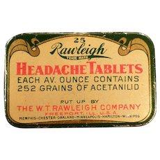 Vintage Medicine Tin - Rawleigh Headache Tablets Tin – Old Medical Advertising