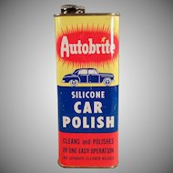 Vintage Automotive Advertising - Old Autobrite Car Polish Tin - Nice Graphics