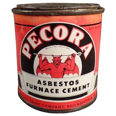 Vintage Tin with Devil Graphics  - Old Pecora Asbestos Furnace Cement Tin - Red Tag Sale Item