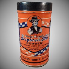 Vintage Automotive Advertising - Old Uncle Hiram's Brighten All Powder Tin