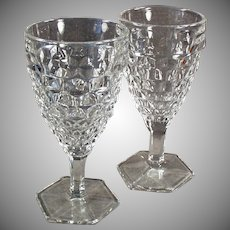 Vintage Fostoria - American Pattern Pair, Stemmed Water or Wine Goblets - 10 Available