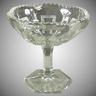 Vintage Pressed Glass - Old Compote Pedestal Dish with Greek Key Design