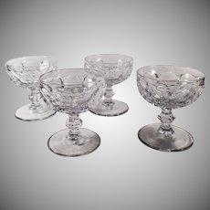 Vintage Heisey Glassware - Set of 4 Old Sherbets - #1506 Provincial Pattern - Clear