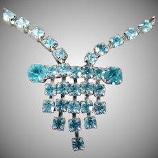 Vintage Rhinestone Necklace - Vibrant Turquoise, Aquamarine Color - Deco Influence
