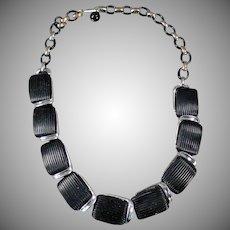 Vintage Choker Necklace - Old Lisner Necklace - Molded Black Plastic and Chrome Deco Look