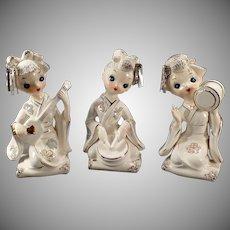 Vintage Ceramic Geisha Girls - Set of Three Pretty Geishas with Gold Trim