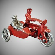 Vintage Cast Iron Motorcycle Toy - Cop Motorcycle with Sidecar and Rider - All Original