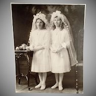 Vintage Large Format Photograph - Young Girls in Communion Dresses ca 1900