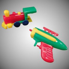Vintage Key Chain Dexterity Puzzle Space Gun and Train - Parts Only