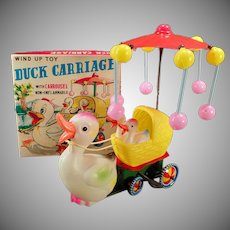 Vintage Celluloid Toy - Old Wind Up Duck Carriage with Original Box - See it Working on Facebook